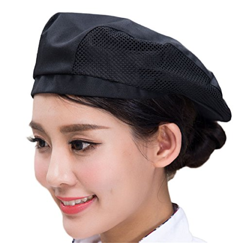 Nanxson Chef Flat Beret Pastry Baker Kitchen Summer Mesh Cooking Works Uniforms Chef Hat for Adults CF9021 (Black) (Womens Cook Cap)