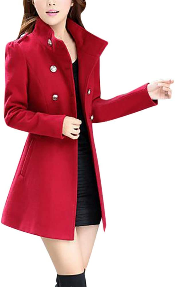 AOJIAN Women Jacket Long Sleeve Outwear Vintage Double Breasted Solid Slim Office Coat