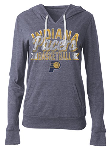 fan products of NBA Indiana Pacers Women's Tri Blend Jersey Pullover Hoodie with Pouch Pocket, Medium, Tri Natural Navy