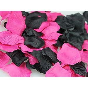 CheckMineOut 600PCS Mixed Hot Pink Black Silk Rose Petals Wedding Table Decoration Confetti Bridal Shower Party Favor 1