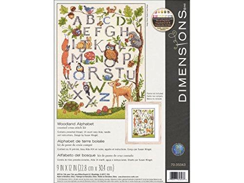 Dimensions Woodland Alphabet Counted Cross Stitch Kit for Beginners, 14 Count Ivory Aida Cloth, 9