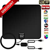 [NEWEST 2018] Wsky TV Antenna, 50-80 Long Miles Amplified HD Digital TV Antenna – Support 4K 1080p & All Older TV's for Indoor with Powerful HDTV Amplifier Signal Booster - Long Coax Cable