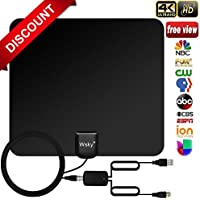[NEWEST 2018] Wsky TV Antenna, 50-80 Long Miles Amplified HD Digital TV Antenna – Support 4K 1080p & All Older TVs for Indoor with Powerful HDTV Amplifier Signal Booster - Long Coax Cable