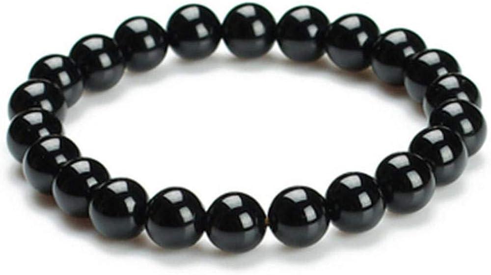 Roapk Pulsera De Mujer Moda romántica Pulsera de ágata Negra Piedra de Cuarzo Negro Cadena de Cuentas de 8 mm Brazalete Ideal Aniversario Navidad