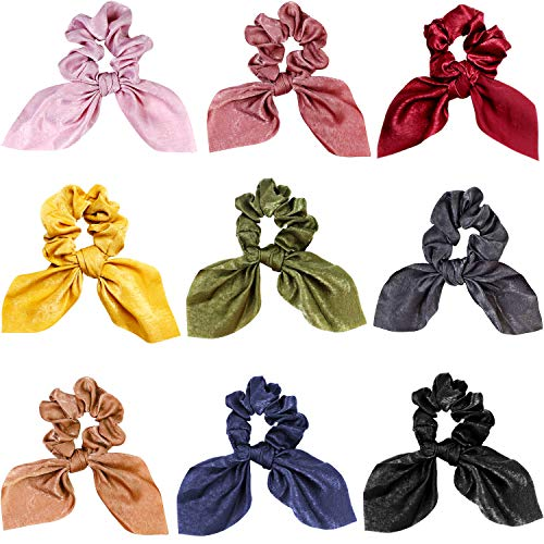 (9 Pieces Hair Scrunchies Silk Scarf Scrunchies Bow Hair Scrunchies Ponytail Holder Scrunchy Ties Hair Bands Vintage Accessories for Women Girls (Bunny Ear Style))