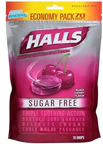 Vapor Black Cherry - Halls Sugar Free Menthol Cough Drops - Black Cherry - 70 Count Economy Pack