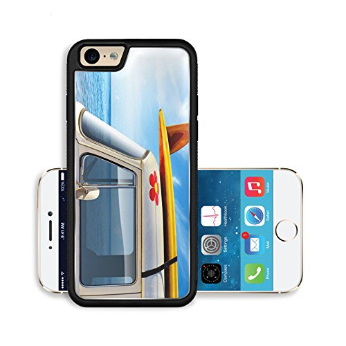 Luxlady Premium Apple iPhone 6 iPhone 6S Aluminium Snap Case Detail of a vintage van in the beach with a surfboard on the roof IMAGE ID 4098494