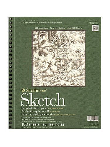 Strathmore Series 400 Premium Recycled Sketch Pads 11 in. x 14 in. 100 sheets [PACK OF 2 (400 Series Recycled Sketch Pad)
