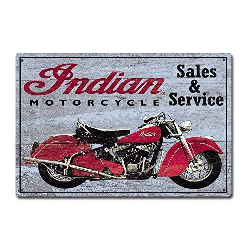 heigudan Indian Motorcycles Sales and Service Vintage Tin Sign Metal Decor Metal Sign Metal Poster Wall Sign Wall Poster Wall Sticker Wall Decor,Decor for Home Office Bar Pub Man Cave Garage