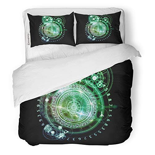 Emvency Decor Duvet Cover Set Twin Size Orbits of Destiny Series Composition Sacred Symbols Signs Geometry and Designs 3 Piece Brushed Microfiber Fabric Print Bedding Set Cover]()