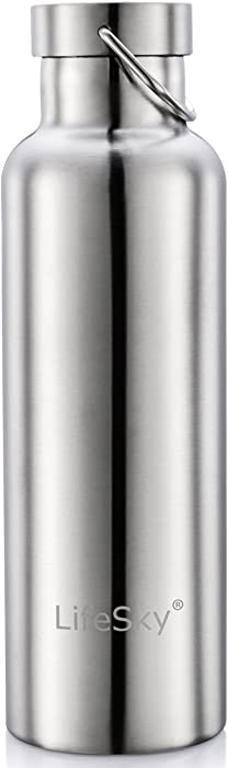 LifeSky Stainless Steel Water Bottle, Double Wall Vacuum Insulated Leak Proof Sports Bottle, Keep Liquid Cold for up to 24 Hours, Wide Mouth
