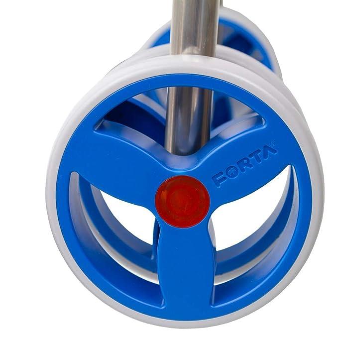 Andador caminador de aluminio plegable con asiento dos ruedas Forta azul