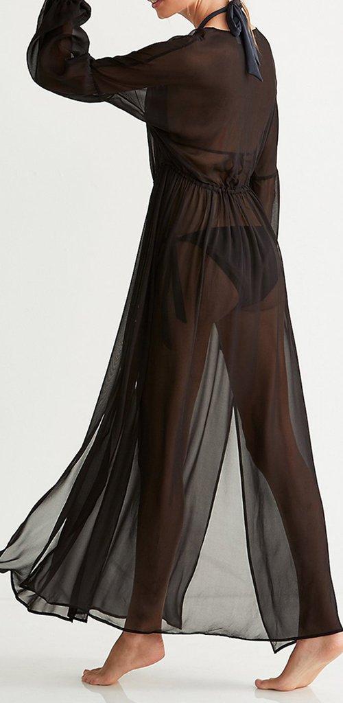 8c9e689ba9e Amazon.com  Wantmore Womens Chiffon Beach Dress Cover Up Shirt Dress Sheer  Maxi Dress  Sports   Outdoors