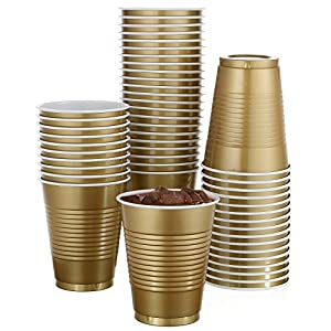 50 Pack – 18 Oz Disposable Gold Plastic Cups Big Party Cup Perfect For Birthday Party's Tableware