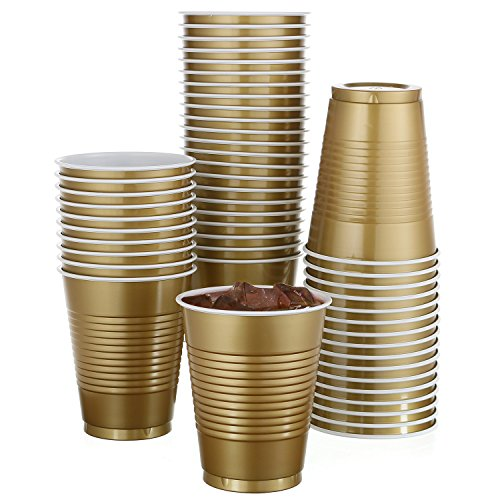 Party Pack Cups - 50 Pack - 18 Oz Disposable Gold Plastic Cups Big Party Cup Perfect For Birthday Party's Tableware