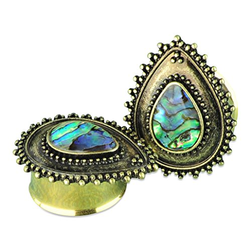 Gold PVD Stainless Steel Teardrop Plugs with Abalone Shell Ear Gauges