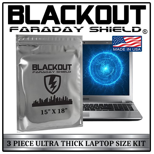 Faraday Cage EMP BLACKOUT® Bags Premium Ultra Thick 3pc Prepping Kit EXTRA LARGE 15 X 18 Laptops Tablets Smartphones Hard Drives iPhone iPad Galaxy Android LG Microsoft
