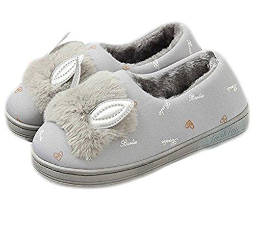 Shoes Ankle Indoor Warm Girls Flat Booties Outdoor Auspicious Fleece Plush Lightweight Foam beginning Lined Women Memory Winter Grey wzcw6vf4q