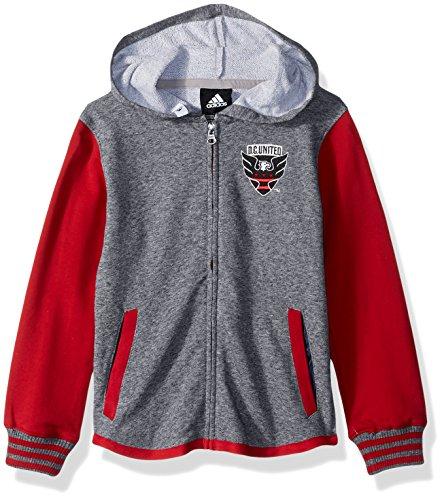 Dc Full Zip Sweatshirt - MLS D.C. United Boys Full Zip Hoodie, Medium (5-6), Red/Grey