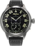 Alpina Pilot Heritage Mens Mechanical Hand-Wind Black Face Black Leather Swiss watch AL-435BN4SH6