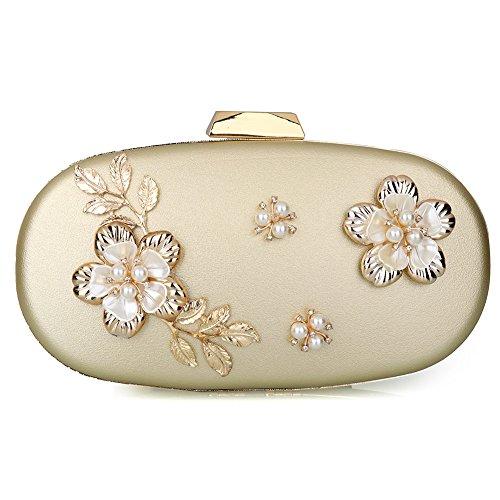 Women's Evening Clutch Bag Satin Flower Pearl Beaded Evening Handbag Bridal Clutch Purse Prom (Gold)