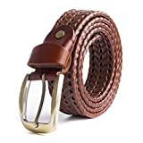 ECHAIN Women Braided Woven Genuine Leather Belt Brown (Waist:32-37)
