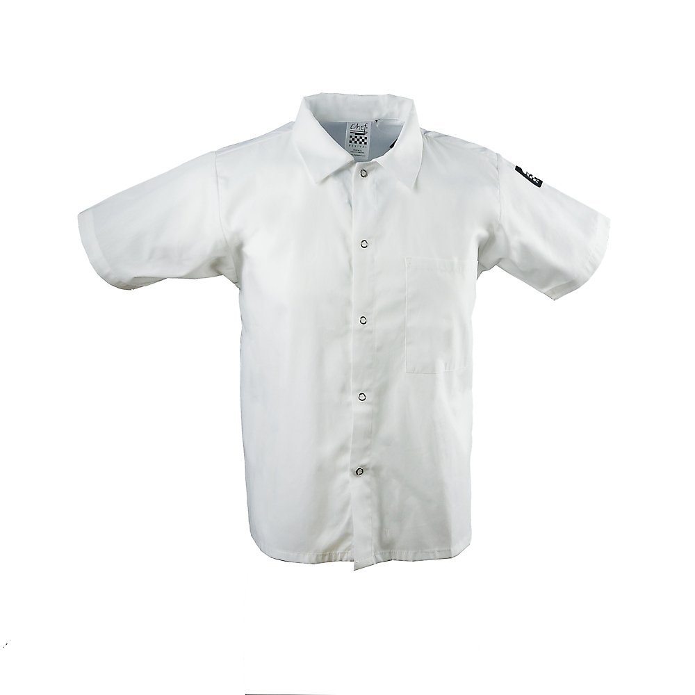 X-Large White Chef Revival CS006WH 24//7 Poly Cotton Blend Short Sleeve Unisex Cook Shirt with Snap Closure Bottons