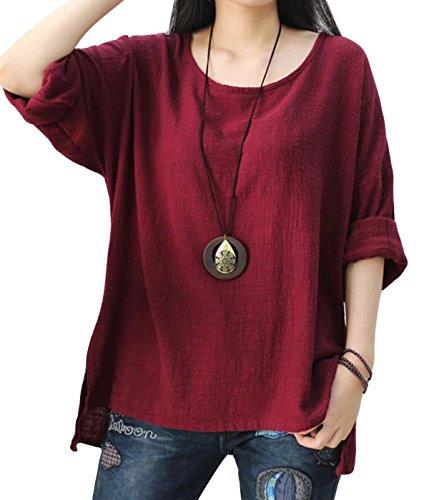Larga Suave Verano Rojo Transpirable Camisa Mujer Retro Sencillo Happy Blusa Lino De Cherry Manga Primavera Otoño OfPOqwYS