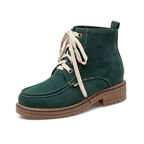 Boots Heels Lace Frosted Women's Green Toe Round Low Solid Closed up AgooLar qwvcTCE88