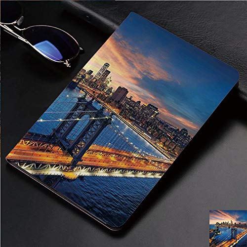 Magnetic Leather Auto Sleep Awake Smart Case Cover for Apple iPad 2 3 4 9.7inch Soft TPU Cute Covers,Over Manhattan and Brooklyn Bridge Cityscape Picture