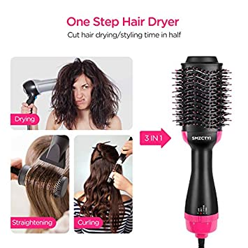 Hair Dryer Brush, SMZCTYI 3 IN 1 Electric One Step Hair Dryer Volumizer Styler, Negative Ion Anti-Scald Hot Air Brush, Salon Hair Straightener with Fast Drying Cool Setting for All Hairstyles
