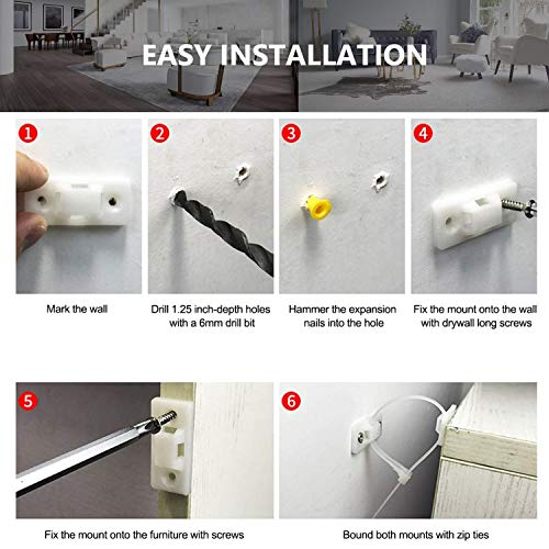 10 Set Furniture Anti-Tip Nylon Strap With Fixing Hardware Attach Furniture Wall