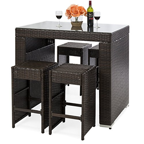 Best Choice Products 5-Piece Wicker Outdoor Dining Bar Table Set with Stools, Tempered Glass Tabletop, Brown (Piece Set Wicker Dining Outdoor 5)