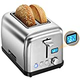 Toasters 2 Slice, [LCD Count Down Timer] PICTEK Compact Stainless Steel Toaster