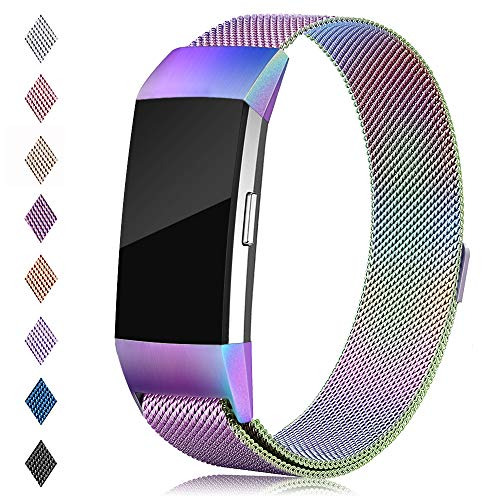 (Find-MyWay Compatible with Fitbit Charge 2 Band,Charge 2 Accessories Stainless Steel Magnet Bracelet Women Men Wristbands Strap Rose Gold Silver Compatible for Charge 2 Fitness Tracker)