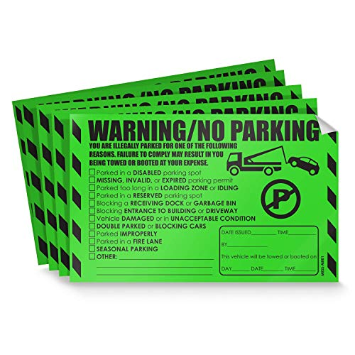 Reserved Ticket - Parking Violation Stickers for Cars (Fluorescent Green) - 10 Illegal Warning Reserved, Handicapped, Private Parking and More/No Parking Hard to Remove and Super Sticky Tow Warnings 8