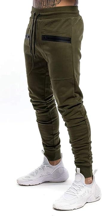 Yidarton - Pantalones de chándal de algodón de corte ajustado con ...