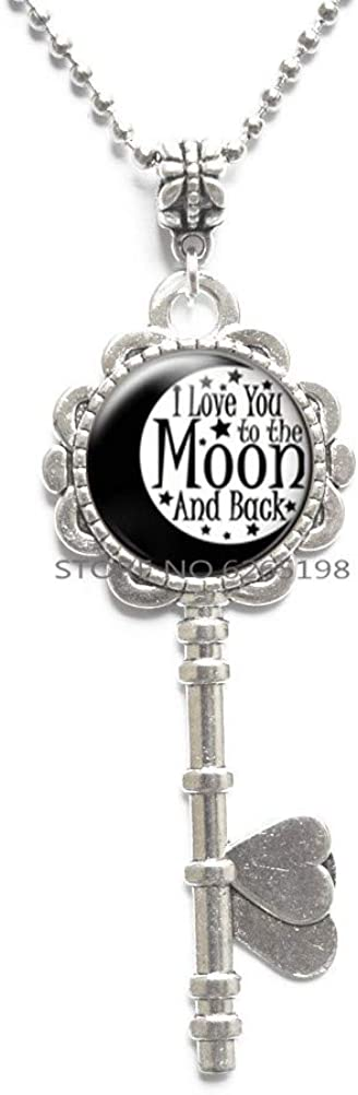 I Love You to The Moon Key Necklace, Black and White Key Necklace, Key Necklace for Mom, Glass Pendant,Inspirational Key Necklace,N060