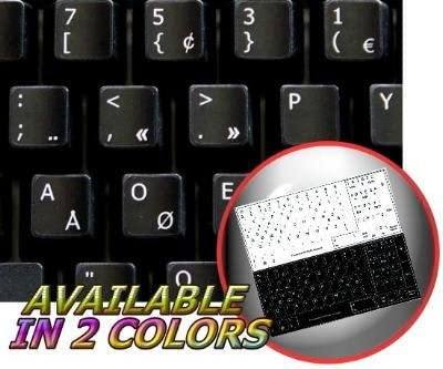 Italian Keyboard Labels ON Transparent Background with RED Lettering 14X14