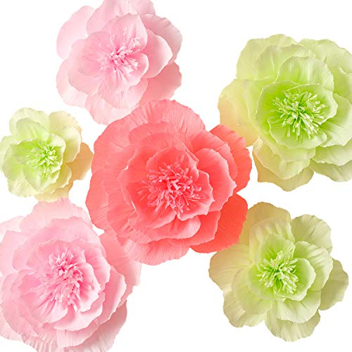 (Paper Flower Decorations, Giant Paper Flowers, Large Crepe Paper Flowers, Handcrafted Flowers (Green, Pink, Set of 6 ) for Wedding Backdrop, Nursery Wall Decorations, Bridal Shower Decor, Baby Shower)