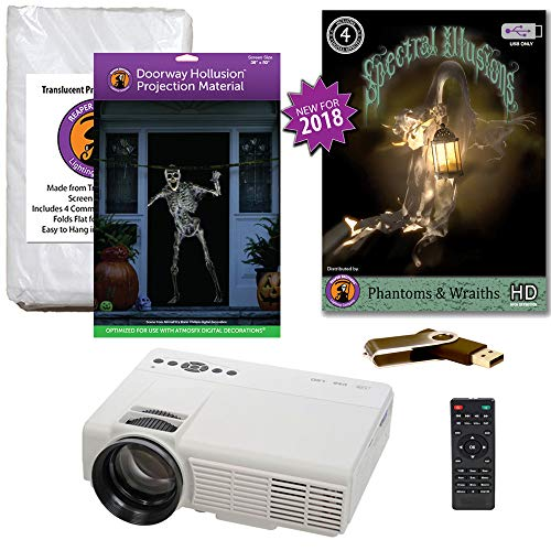 (Halloween Window Projection Kit Includes 1200 Lumen Projector, 2 High Resolution Projection Screens (R/D) and Spectral Illusions Phantoms & Wraiths on USB)