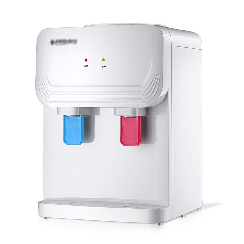 LU- White Desktop Water Dispenser - Double Push Cup to Take Water, 304 Stainless Steel Liner, Heighten Water Space, Small Office Desktop Warm Water Dispenser