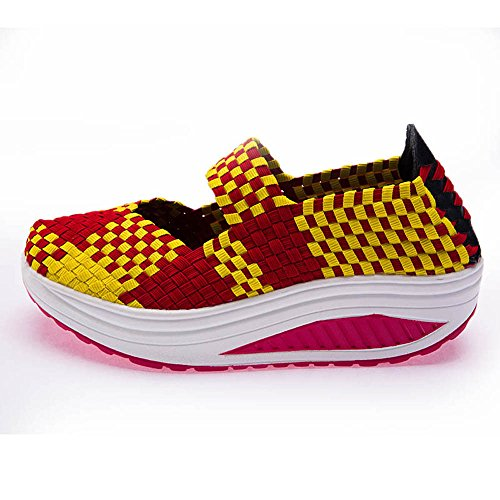 B Walking Shoes EnllerviiD Work Jane 7 SDF M Women Mary Red Yellow 5 Weave Sneakers US Fitness Toning 809huanghong40 Out pTT04qwf