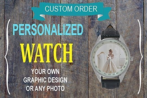 Custom Watch, Men Watch, Analog, Leather, Black, Personality, Anniversary/Wedding Gift, Gift for Him, Pm us with Photo or Quotes ()