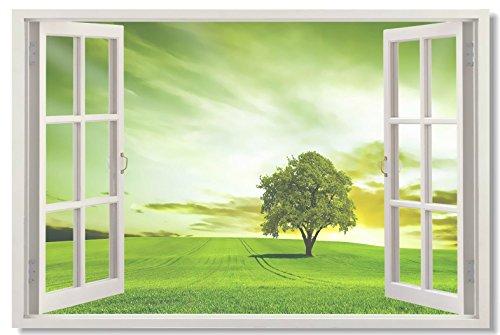 Window View Office Room Wall Decoration Outdoor Sky Lake Sandy Beach Sea Coconut Tree