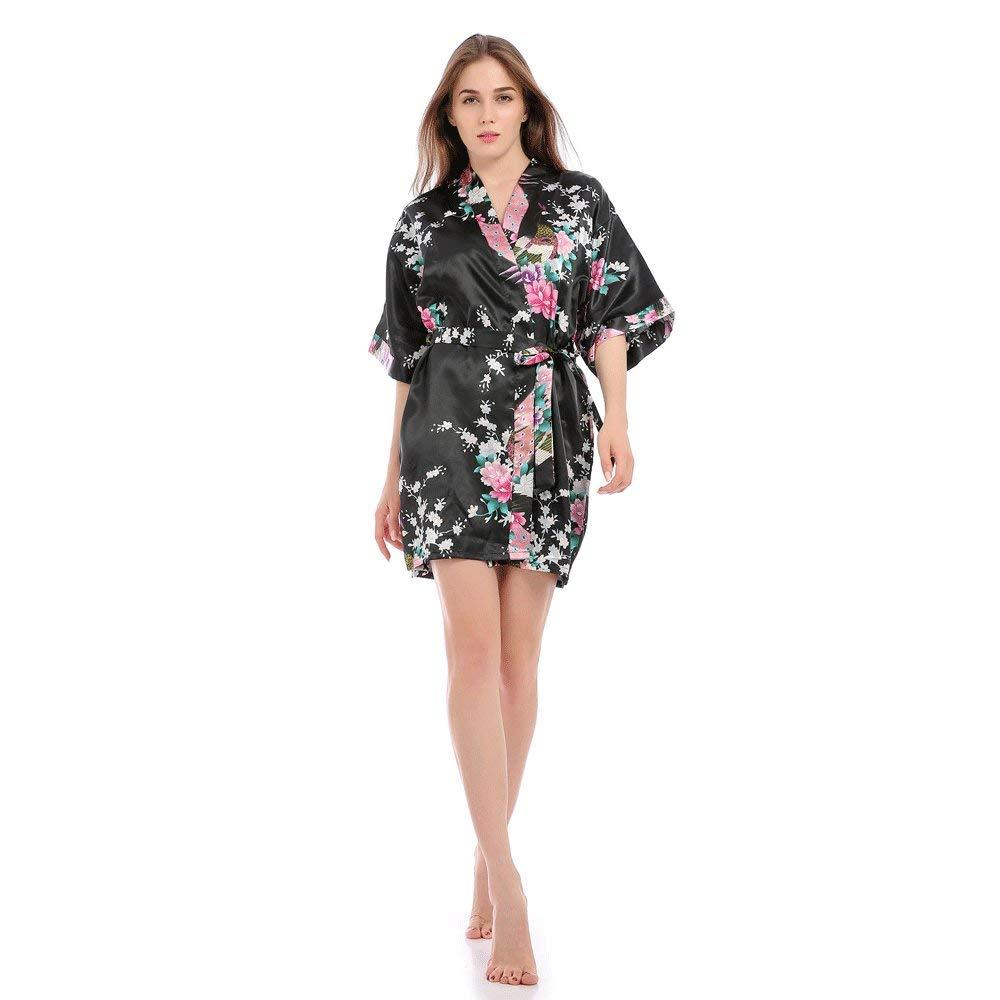 Bata Kimono Floral,Bata Corta Vestido de Satén Albornoces Personalizados Mujeres Bata de Seda Dama de Honor Pijamas Lencería para niñas,Black-L: Amazon.es: ...