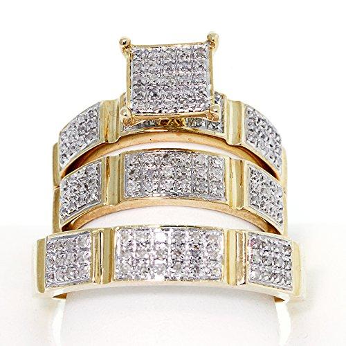 10k Yellow Gold, Round brilliant cut Diamond trio wedding ring set(0.50ctw,SI1-SI2,G-H)