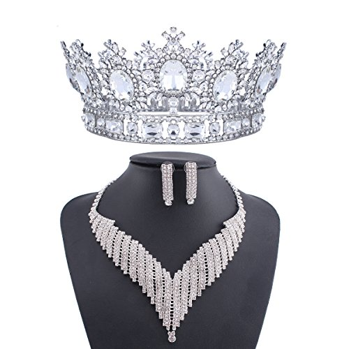 Stuffwholesale Oval Crystal Rhinestone Tiara Crown Wedding Bridal Necklace Earring Set (#3)