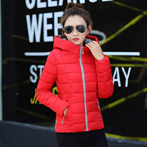 9fb7b3f4951 Womens Coats And Jackets Clearance Liraly Winter Warm Solid Coat Hooded  Thick Warm Slim Jacket Overcoat(Red ,US-6 /CN-M)