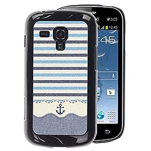 A-type Arte & diseño plástico duro Fundas Cover Cubre Hard Case Cover para Samsung Galaxy S Duos S7562 (Stripws Crocheted Fabric Boat)